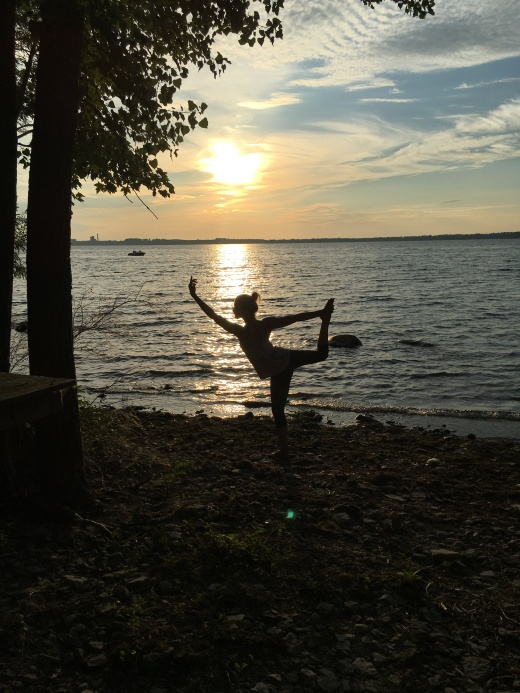 Sunset at the island. Dancer's Pose.